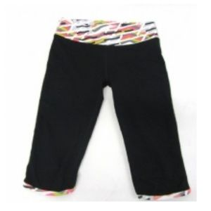 Fabletics Black Multi Athletic Cropped Pants SMALL